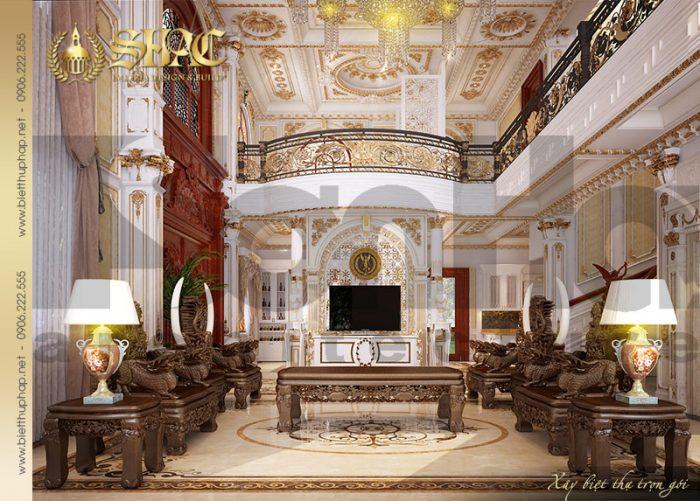 Không gian phòng khách ngôi biệt thự lâu đài được trang hoàng lộng lẫy