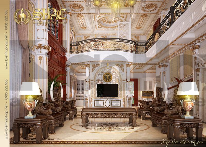 3 Mẫu thiết kế nội thất phòng khách biệt thự lâu đài tại Hà Nội SH BTLD 0032
