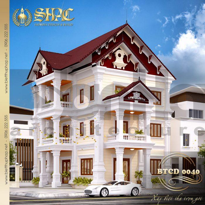 Mẫu biệt thự tân cổ điển pháp đẹp và tiện nghi với thiết kế 2 mặt tiền ấn tượng và xa hoa