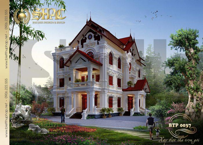 Thiết kế biệt thự mái thái 3 tầng 2 mặt tiền tại Hưng Yên