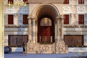 3 Thiết kế mặt tiền biệt thự cổ điển 4 tầng kiểu pháp sang trọng tại Hà Nội SH BTLD 0024