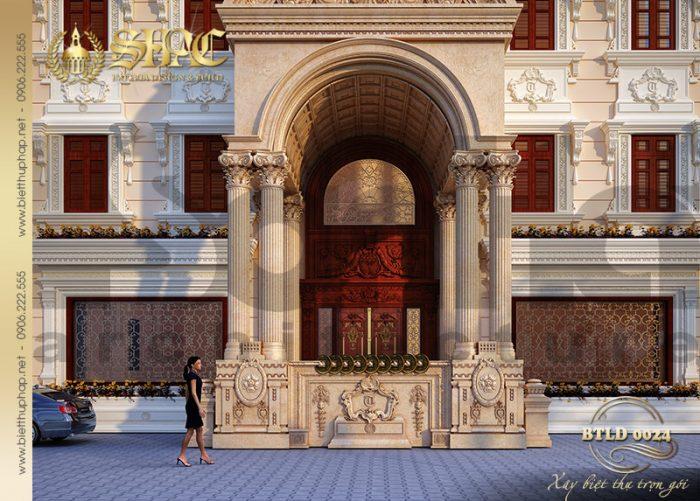 Cận cảnh từng đường nét kiến trúc mặt tiền của ngôi biệt thự lâu đài xa hoa