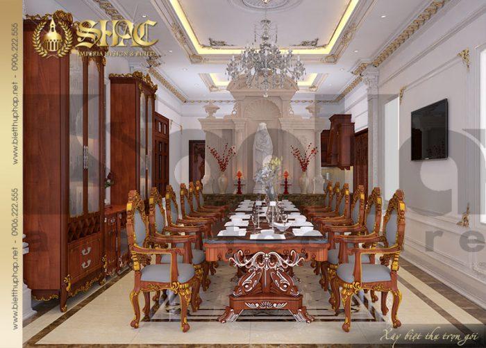 Thiết kế phòng ăn với nội thất cổ điển trong không gian ấm cúng, sang trọng
