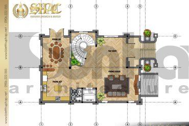4 Bản vẽ công năng biệt tầng 1 thự lâu đài pháp tại Sài Gòn SH BTLD 0028