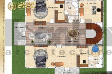 4 Bản vẽ mặt bằng công năng tầng 2 biệt thự lâu đài SH BTLD 0037 tại Hải Phòng