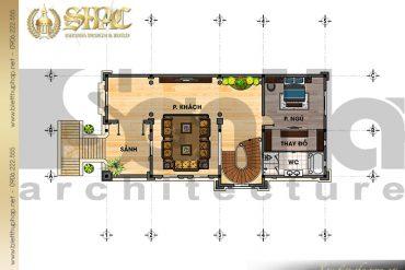 4 Bản vẽ mặt bằng công năng tầng 2 biệt thự lâu đài tại Lạng Sơn SH BTLD 0030