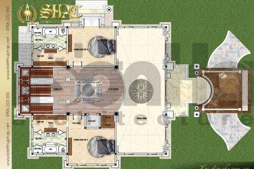 4 Mặt bằng công năng tầng 1 biệt thự lâu đài Pháp 4 tầng 1 tum tại Sài Gòn SH BTLD 0039