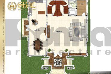 4 mặt bằng công năng tầng 1 biệt thự lâu đài tại Lạng Sơn SH BTLD 0038