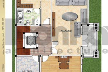 4 Mặt bằng công năng tầng 1 biệt thự pháp 3 tầng có hồ bơi tại Hải Phòng SH BTCD 0040