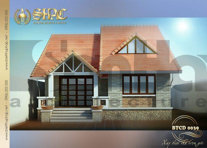 Thiết kế kiến trúc biệt thự tân cổ điển 1 tầng sang trọng tại Quảng Ninh