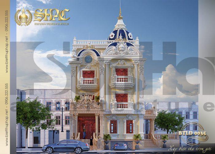 Phương án 3 thiết kế kiến trúc ngoại thất mẫu biệt thự cổ điển kiểu lâu đài xa hoa tại Sài Gòn