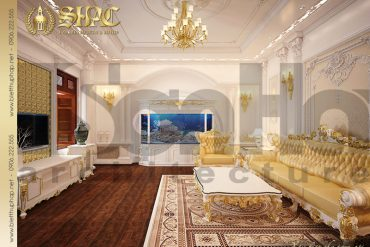 4 Mẫu thiết kế nội thất phòng khách biệt thự cổ điển pháp tại Hà Nội SH BTLD 0024