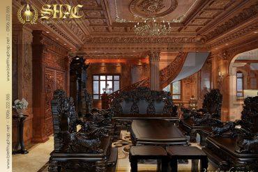 4 Mẫu thiết kế nội thất phòng khách biệt thự lâu đài tại Hà Nội SH BTLD 0026