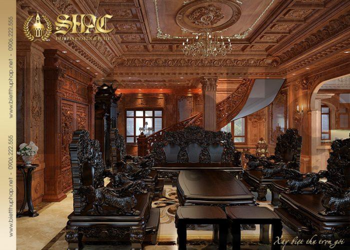 Không gian phòng khách biệt thự 4 tầng kiến trúc lâu đài với nội thất gỗ cao cấp