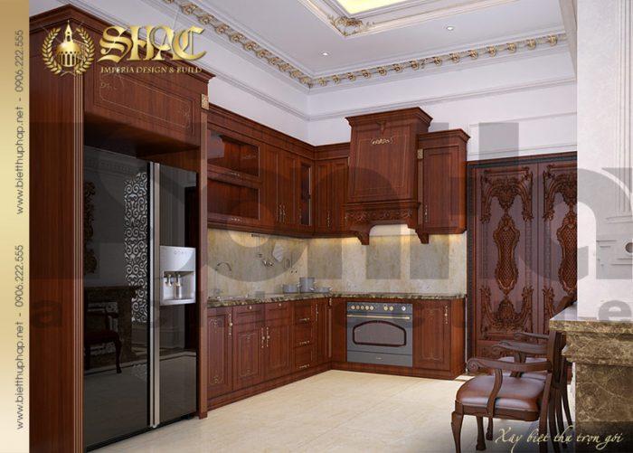 Hệ thống tủ bếp thiết kế nhiều ngăn mang tính tiện dụng cao cho người sử dụng