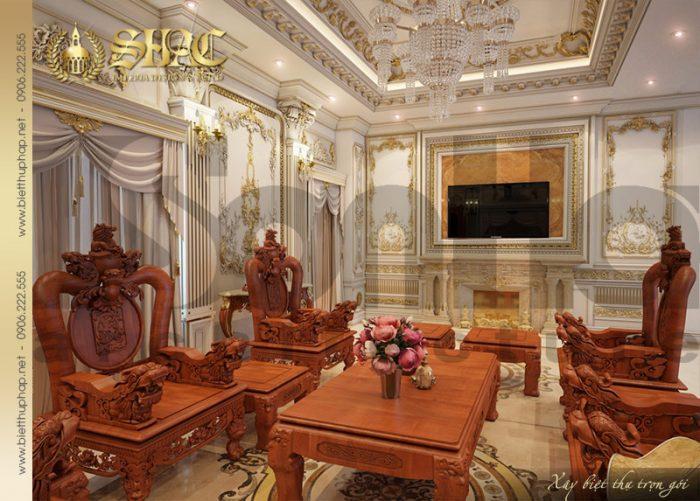 Phòng khách biệt thự lâu đài 3 tầng sang trọng với bộ đồng kỵ thiết kế tinh tế