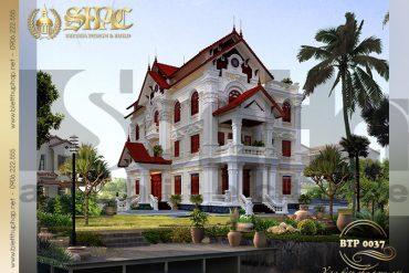 4 Thiết kế biệt thự Pháp có sân vườn đẹp tại Hưng Yên SH BTP 0037