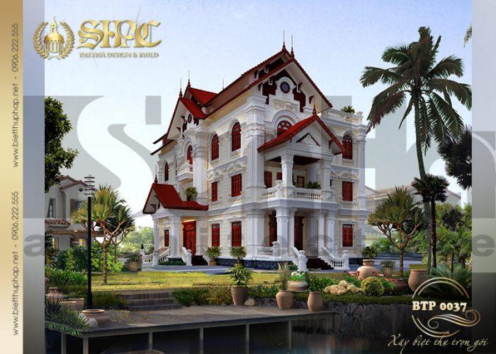 Kiến trúc biệt thự pháp 3 tầng có hồ bơi đẹp, ấn tượng tại Hưng Yên
