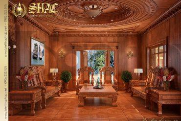 4 Thiết kế nội thất phòng khách biệt thự lâu đài đẹp kiểu pháp tại Quảng Ninh SH BTLD 0022