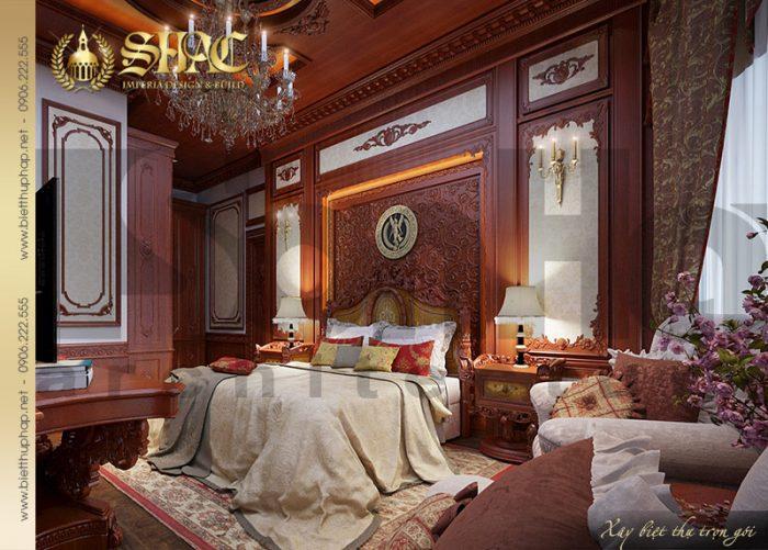 Mẫu thiết kế nội thất phòng ngủ tầng 1 biệt thự lâu đài châu âu tại Đà Nẵng