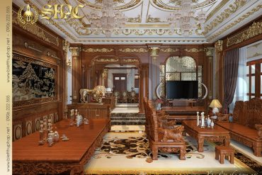 4 Thiết kế phòng khách biệt thự lâu đài kiểu Pháp tại Nam Định SH BTLD 0026