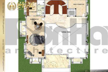 5 Bản vẽ mặt bằng công năng tầng 2 biệt thự lâu đài tại Lạng Sơn SH BTLD 0038