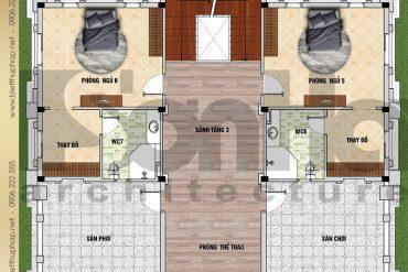 5 Bản vẽ mặt bằng công năng tầng 3 biệt thự lâu đài SH BTLD 0036 tại Hải Dương