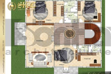 5 Bản vẽ mặt bằng công năng tầng 3 biệt thự lâu đài SH BTLD 0037 tại Hải Phòng
