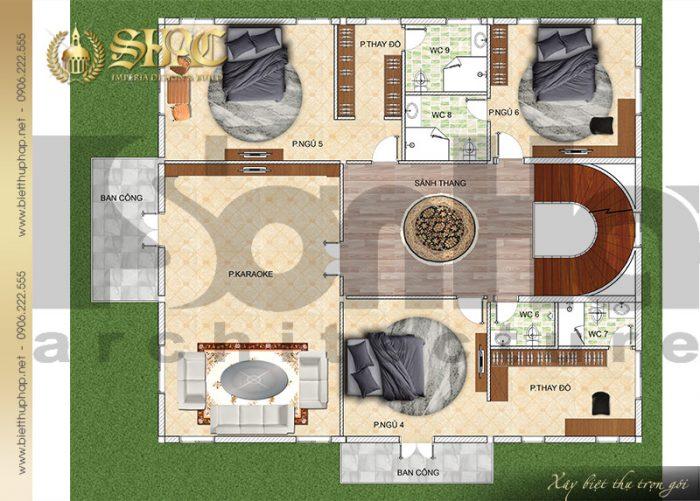 Bản vẽ mặt bằng công năng tầng 3 biệt thự cổ điển kiểu lâu đài tại Hải Phòng