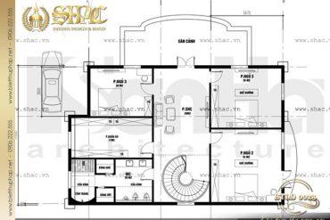 5 Bản vẽ mặt bằng thiết kế tầng 2 biệt thự lâu đài đẹp tại Nam Định SH BTLD 0023