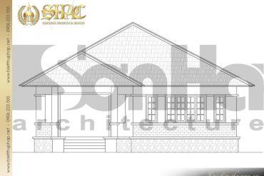 5 Bản vẽ mặt đứng biệt thự mini mái thái 1 tầng tại Quảng Ninh SH BTCD 0039