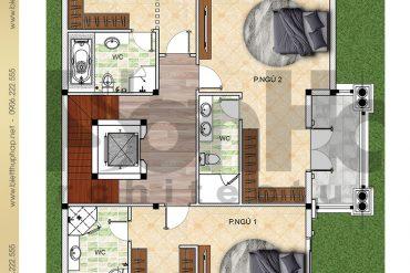 5 Mặt bằng công năng tầng 2 biệt thự 2 mặt tiền kiểu pháp có hồ bơi tại Hải Phòng SH BTCD 0040