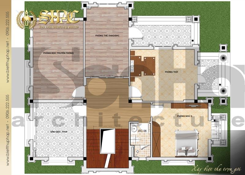 5 Mặt bằng công năng tầng 3 biệt thự pháp đẹp tại lạng sơn sh btp 0035