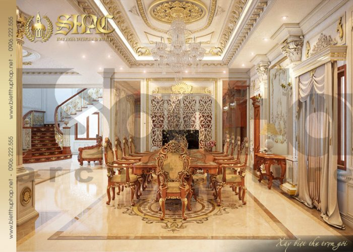 Mẫu thiết kế nội thất phòng bếp ăn biệt thự lâu đài có cách trang hoàng lộng lẫy