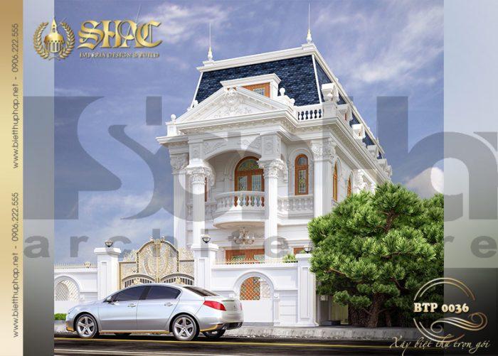 Phong cách kiến trúc cổ điển hoàng gia châu âu được KTS Sơn Hà khéo kéo chắt lọc phối kết với vật liệu truyền thống tạo nên ngoại thất tinh tế bắt mắt. Tổng thể ngôi biệt thự thật sang trọng, ấn tượng và tinh tế chinh phục mọi ánh nhìn