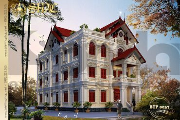 5 Thiết kế biệt thự kiểu Pháp 3 tầng mái thái tại Hưng Yên SH BTP 0037