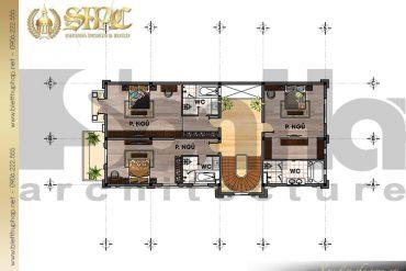 5 Thiết kế mặt bằng công năng tầng 3 biệt thự lâu đài kiểu pháp tại Lạng Sơn SH BTLD 0030