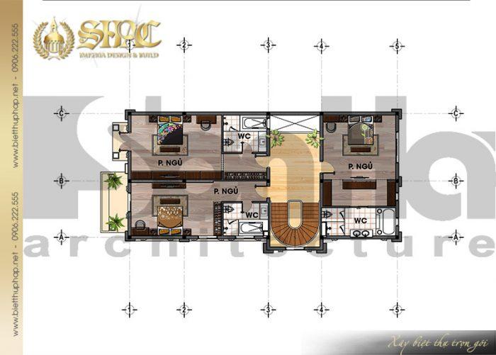Chi tiết mặt bằng công năng tầng 3 biệt thự lâu đài kiểu pháp cổ điển tại Lạng Sơn