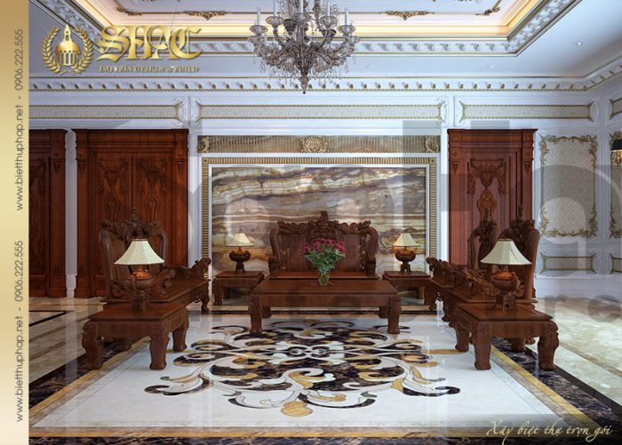 Mẫu thiết kế nội thất phòng khách cổ điển tại tầng 1 của ngôi biệt thự 5 tầng
