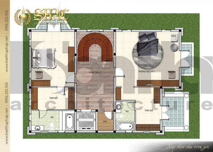Bản vẽ chi tiết mặt bằng quy hoạch công năng tầng 2 biệt thự lâu đài pháp 4 tầng tại Sài Gòn