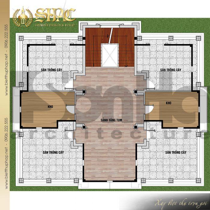Chi tiết mặt bằng công năng tầng 4 biệt thự lâu đài cổ điển tại Hải Dương