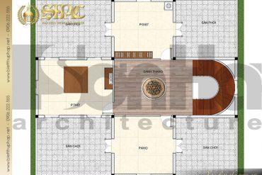 6 Bản vẽ mặt bằng công năng tầng mái biệt thự lâu đài SH BTLD 0037 tại Hải Phòng