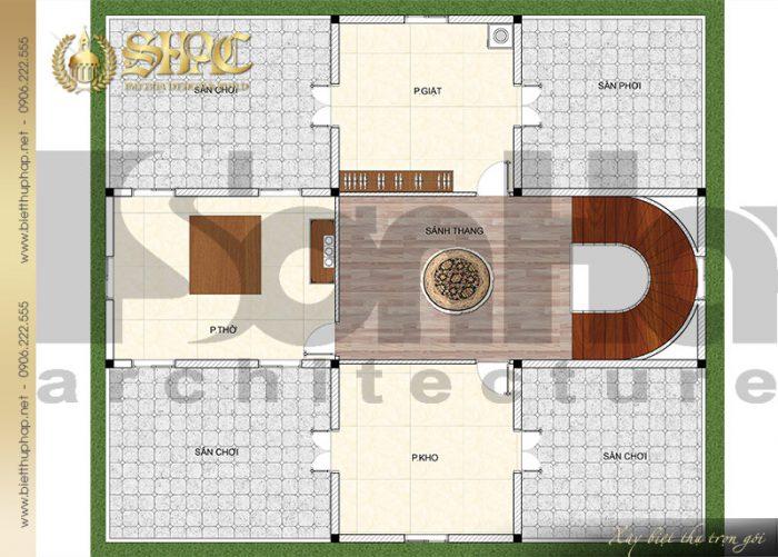 Bản vẽ mặt bằng công năng tầng mái biệt thự cổ điển kiểu lâu đài tại Hải Phòng