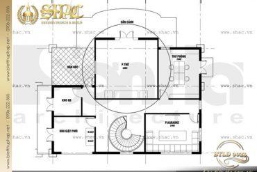 6 Bản vẽ mặt bằng thiết kế tầng 3 biệt thự lâu đài đẹp tại Nam Định SH BTLD 0023