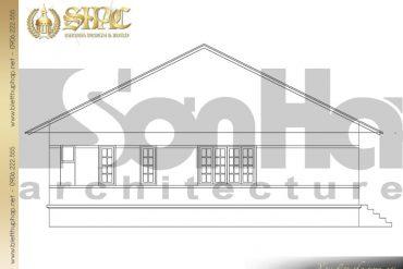 6 Bản vẽ mặt ngang biệt thự mini mái thái diện tích 150m2 thiết kế đẹp tại Quảng Ninh SH BTCD 0039