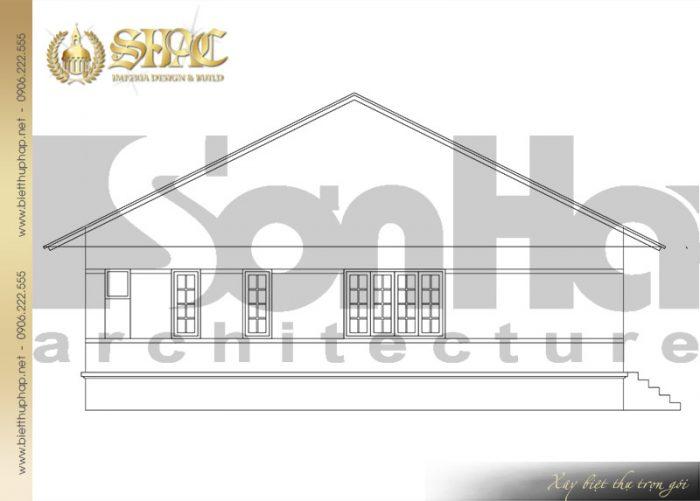 Chi tiết bản vẽ mặt ngang biệt thự mini mái thái diện tích 150m2 tại Quảng Ninh