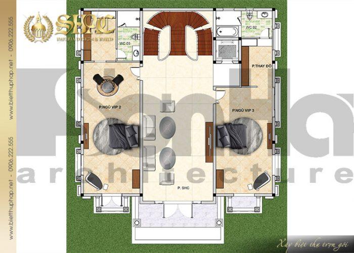 Bản vẽ mặt bằng công năng tầng 3 biệt thự lâu đài cổ điển 2 mặt tiền tại Lạng Sơn