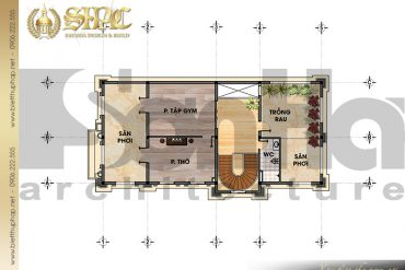 6 Chi tiết mặt bằng công năng tầng tum biệt thự lâu đài đẹp tại Lạng Sơn SH BTLD 0030