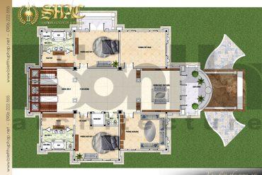 6 Mặt bằng công năng tầng 2 biệt thự lâu đài Pháp tại Sài Gòn SH BTLD 0039