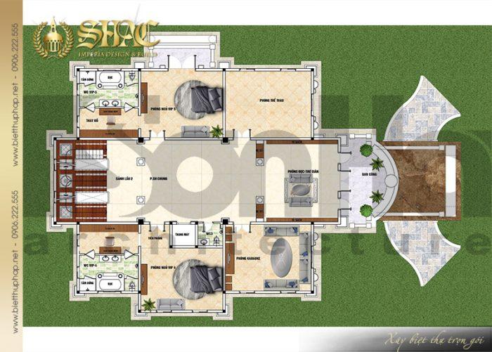 Giải pháp bố trí công năng tầng 2 biệt thự lâu đài Pháp 4 tầng tại Sài Gòn